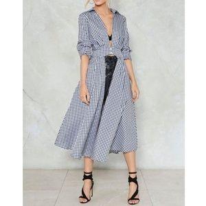 Black & White Check Gingham Shirt Coat Dress